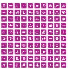 100 farm icons set grunge pink vector