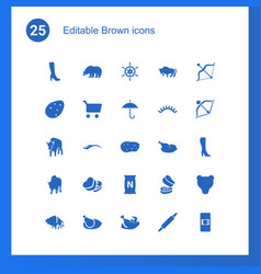 25 brown icons vector