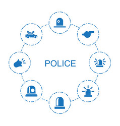 8 police icons vector