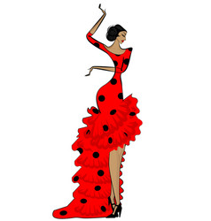 abstract flamenco woman in black and red vector image