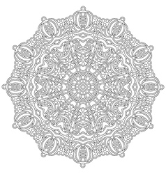adult coloring book floral mandala black and white vector image
