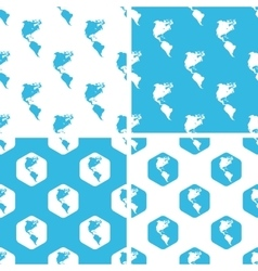 American continents patterns set vector image