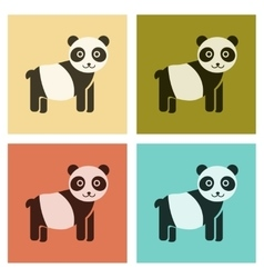 Assembly flat icons nature Panda bear vector