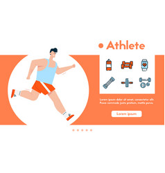 banner sport exercise and linear icons set vector image