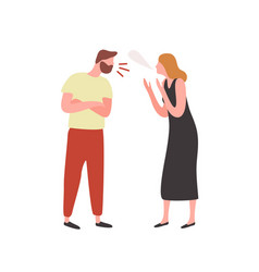 Bearded irritated guy and angry woman scream each vector
