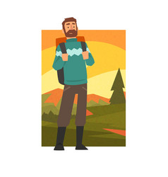 bearded man in summer mountain landscape outdoor vector image