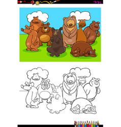 Bears animal characters group color book vector