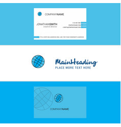 beautiful globe logo and business card vertical vector image