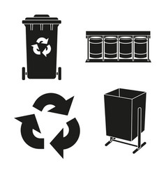 Black and white trash silhouette collection vector