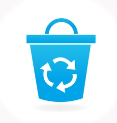 Blue recycle icon vector
