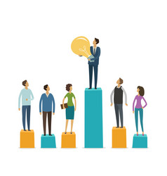 business graphics business people stand on column vector image