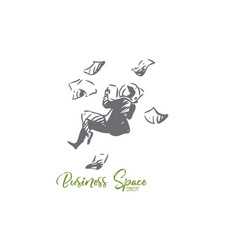 business space paper man fly concept vector image