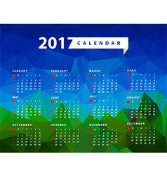 Calendar for 2017 year week starts from sunday vector