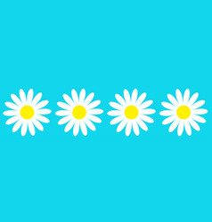 Camomile icon set line four white daisy chamomile vector