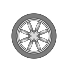 Car wheel icon black monochrome style vector image