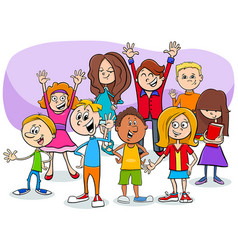 Cartoon children and teens characters group vector