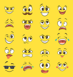 Cartoon emotions with funny faces with big eyes vector