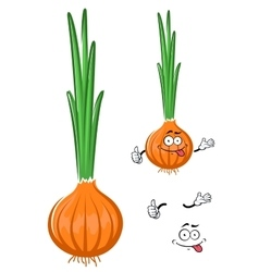 Cartoon green onion vegetable character vector