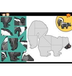 Cartoon skunk jigsaw puzzle game vector