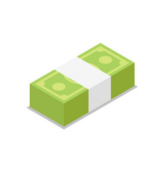 Cash bundle isolated isometric 3d icon vector