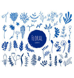 collection hand drawn ink floral elements vector image