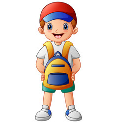 cute boy cartoon with backpack vector image