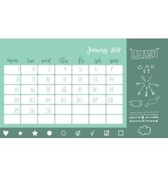Desk calendar template for month january week vector