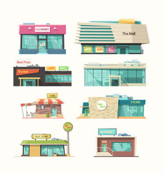 Different front view stores in set isolated vector