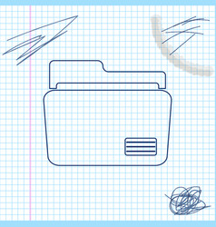 document folder line sketch icon isolated on white vector image