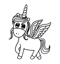 doodle style hand drawn unicorn isolated on vector image