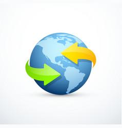 earth icon with circular arrows vector image