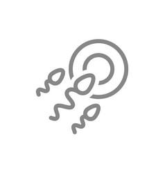 Egg and sperm line icon human fertilization vector