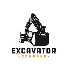 Excavator mining equipment logo vector