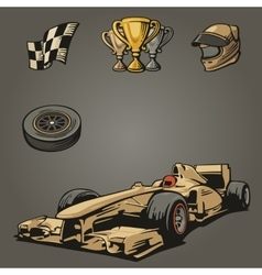 F1 Car sport set symbols vector
