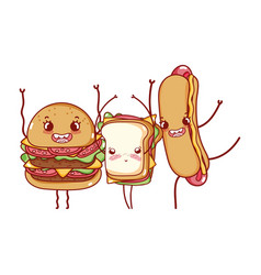 fast food cute burger sandwich and hot dog cartoon vector image