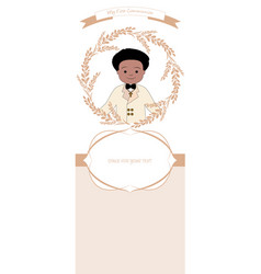 First communion celebration reminder cute boy vector