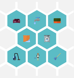 Flat icons faucet washcloth wisp and other vector
