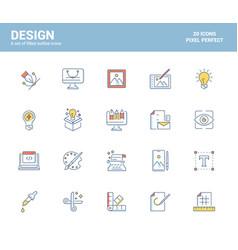 flat line icons filled design-design vector image