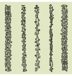Floral border elements vector