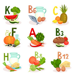 food sources of different vitamins healthy vector image