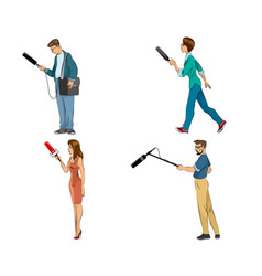 Four reporters set vector