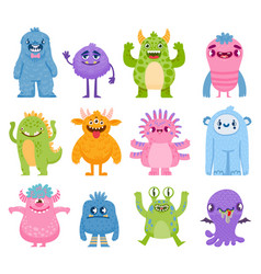 funny monsters cartoon cute and scary creatures vector image
