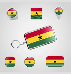 Ghana country flag on keychain and map pin vector