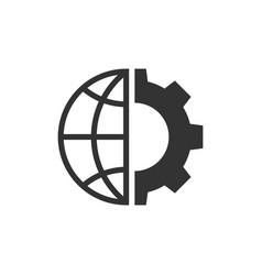 Globe and gear black icon vector
