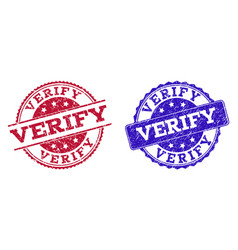 Grunge scratched verify seal stamps vector