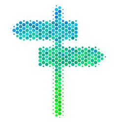 Halftone blue-green road pointer icon vector