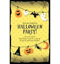 Halloween party invitation card long vector image