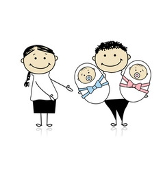 Happy parents with newborn twins vector image vector image