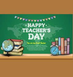 Happy teacher day with world map ribbon vector