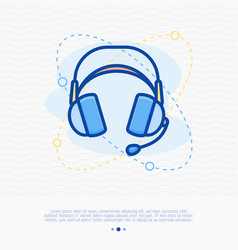 Headset thin line icon modern vector